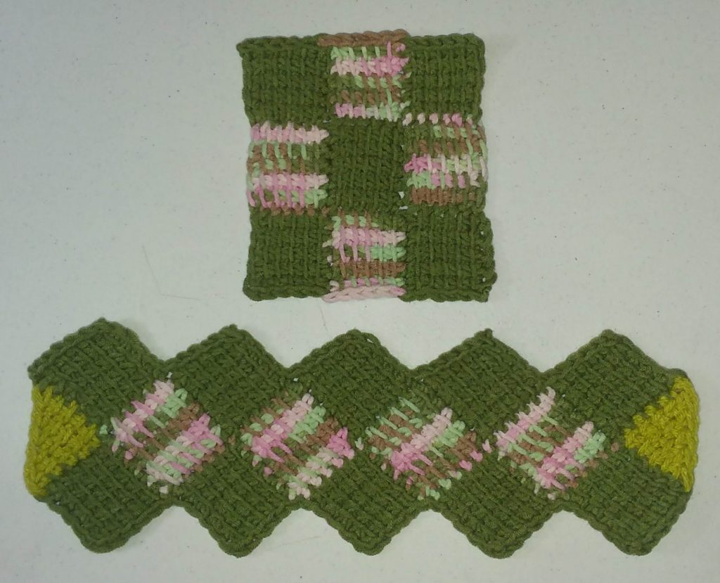 Tunisian Entrelac crochet sample for Fiberworld 2020 class in solid and variegated to emphasize the structure of the stitch pattern